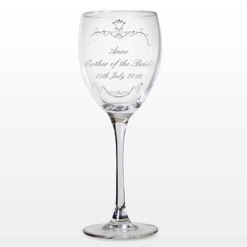 Personalised Ornate Swirl Wine Glass