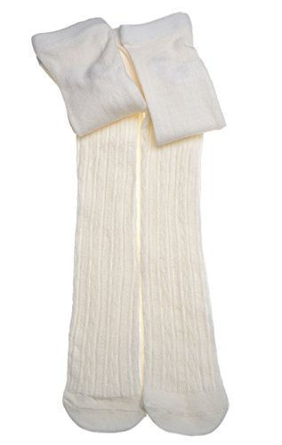 2-pairs-of-Girls-tights-Cream-Cable-design-tights