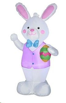 7 Foot Tall Jumbo Sized Airblown Easter Bunny With Giant Easter Egg