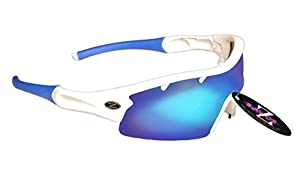 RayZor Professional Lightweight UV400 White Sports Wrap Cricket Sunglasses, With a 1 Piece Vented Blue Iridium Anti-Glare Lens.