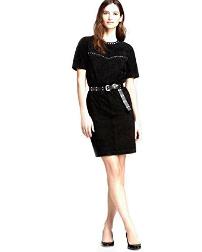 Michael Kors Black Genuine Suede Studded Belted Dress Size Medium