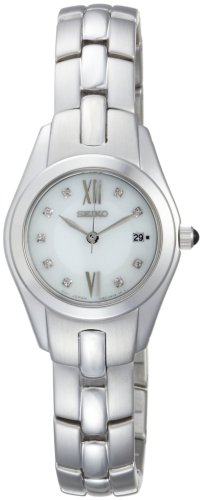 Seiko Women's SXDB85 Silver-Tone White Mother Of Pearl Dial 9 Diamonds Dress Watch
