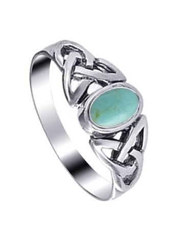 LWRS170-9 .925 Sterling Silver 7mm Turquoise Celtic Knot Band Ring Size 4, 5, 6, 7, 8, 9