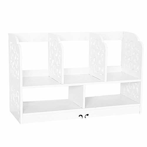 DIY Wooden Desk Organier Small Objests Cosmetics Storage Box Bookcase Shelves,5 Grid