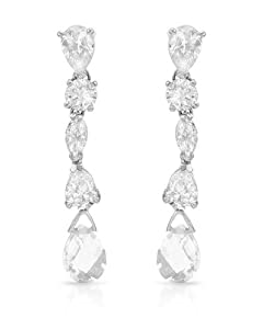 Genuine Morne Rouge (TM) Earrings. Cubic Zirconia Sterling Silver Earrings - Material/Stone: Cubic Zirconia. 10.0 Grams in Weight and 48 mm in Length. 100% Satisfaction Guaranteed.