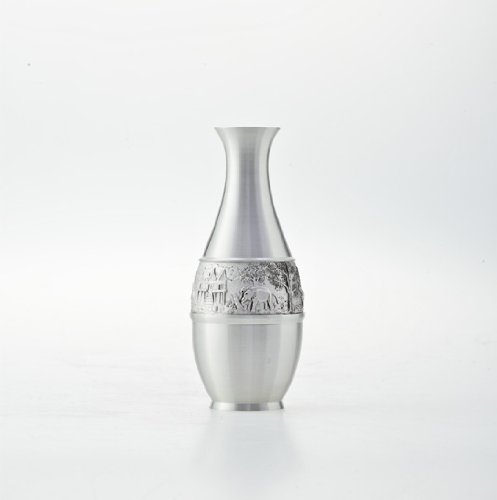 Non Toxic Pewter Vase With Thai Scenery Bas-Relief