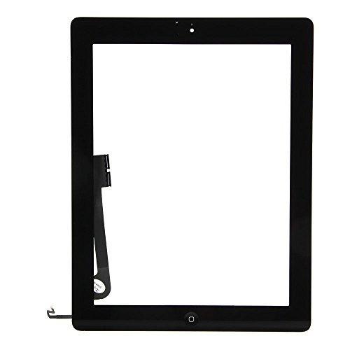 iPad 4Screen Ersatz, Front Touch Digitizer Komplett Montage Ersatz mit Homebutton + Kamera Halter + selbstklebend vorinstalliert + Gratis Werkzeug für Apple iPad 44. Modell A1458A1459A1460(schwarz)