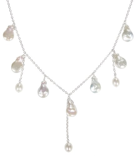 Sterling Silver White Freshwater Cultured Pearl Drop Necklace, 16