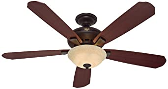 "Hunter 21711 Grant Park 60"" 5 Blade Ceiling Fan - Blades and Light Kit Included, New Bronze"