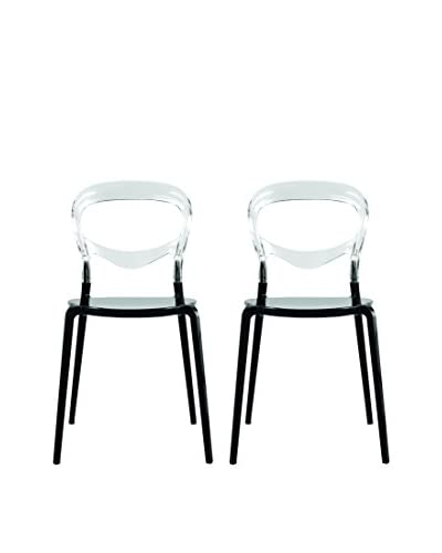 Manhattan Living Set of 2 Evo Acrylic Dining nSide Chairs, Transparent