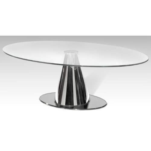 Oval Coffee Table With Glass Top And Chrome