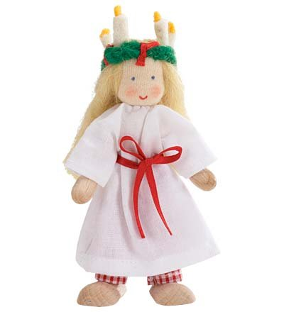 Kathe Kruse International Dollhouse Doll With Flexible Wire Bodies And Big Wooden Feet, Sweden Doll front-803973