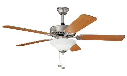Kichler Lighting 339210NI Sterling Manor Select 52-Inch Ceiling Fan with White-Etched Glass, Brushed Nickel
