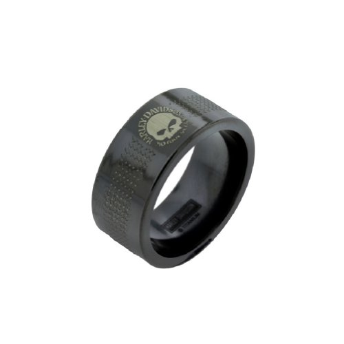 Harley-Davidson® Stamper® Men's Willie G. Black Titanium Ring. Diamond-Plate Stripe. TR011B