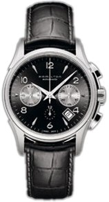 Hamilton Men's H32656833 Jazzmaster Black Chronograph Dial Watch