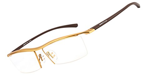 Bertha Men Z Pure Titanium Semi-rimless Eyewear Business Optical Glasses Frame 8189 (Gold) (Spectacles Frame compare prices)