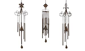 Gift Craft 38-Inch Iron Wind Chimes, Large, Rustic Brown/Black