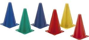 Champ Sprt Indoor/Outdoor Flexible Cone Set, Vinyl, Assorted Colors, 6/Set