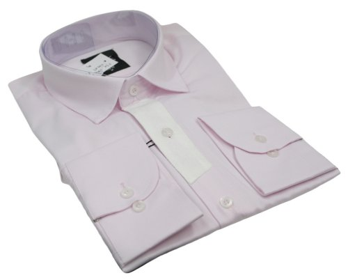Mens Italian Style Shirt Patch Sleeve Pink White Very Slim Fit Smart or Casual