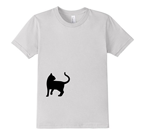 Kids-EmmaSaying-Dont-Look-Back-In-Anger-Cat-Silhouette-T-Shirt-Silver