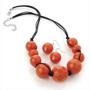 Ladies Attractive Pattern Orange Marble Effect Bead Set Brand New