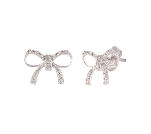 10k White Gold Diamond Accent Bow Earrings (0.08 cttw, I-J Color, I2-I3 Clarity)