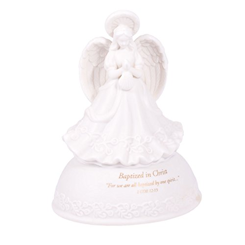Baptized in Christ White Porcelain Musical Angel Figurine - Plays Tune Children's Prayer