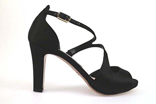 scarpe donna GUIDO SGARIGLIA 35 EU sandali nero raso AP797