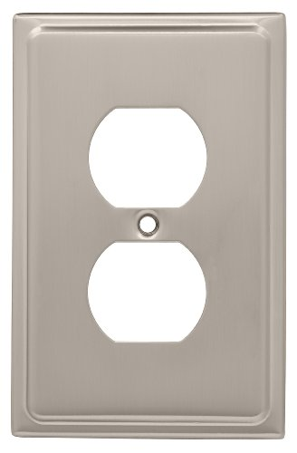 Brainerd 126362 Country Fair Single Duplex Wall Plate / Switch Plate / Cover, Satin Nickel
