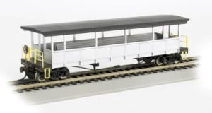 Painted, Unlettered - Silver and Black Open Sided Excursion Car with Seats. HO Scale