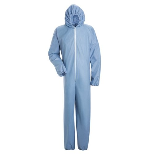 Bulwark Flame Resistant PVC Coated Chemical Splash Regular Disposable Coverall with Attached hood, Sky Blue, Medium