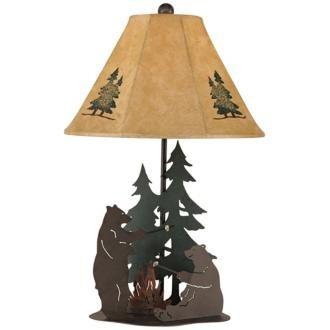 Iron Bears Roasting Marshmallows Table Lamp