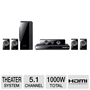 Samsung 5.1 Channel 3D Blu-ray Home Theater System with Full HD 1080p Resolution, 1000 Watts Total Power, Smart Hub, Smart Content With Signature Services, Web Browser, Disc To Digital Streaming Service, Built-In Wi-Fi, AllShare Play, Wireless Rear Ready, Crystal Amp Plus, 3D Sound Plus, Black Finish