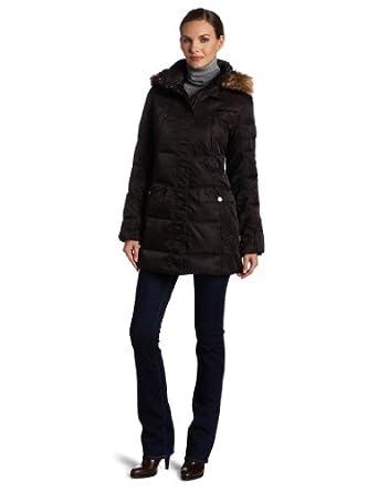Jones New York Women's Belted Down Coat, Brown, Small at