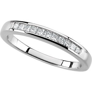 Platinum Princess-Cut Diamond Anniversary Band: Size 7