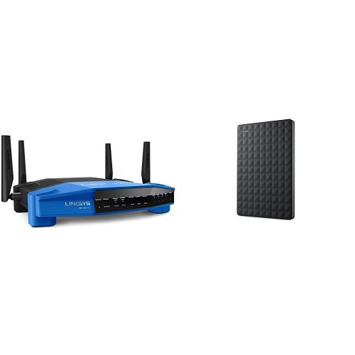 Linksys WRT AC1900 Dual-Band Smart Wi-Fi Wireless Router and Seagate Expansion 1TB Portable External Hard Drive image