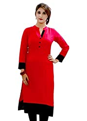 Fashion Galleria Women's Red Cotton Kurti