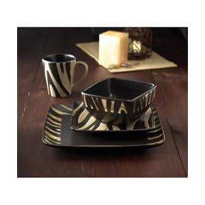 American Atelier Safari Cream Zebra 16-piece Dinnerware Set