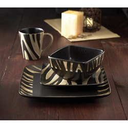 American Atelier Safari 16-Piece White Zebra Dinnerware Set