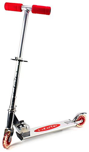 S-Skooter Children's Two Wheeled Metal Toy Kick Scooter w/ Adjustable Handlebar Height, Rear Fender Brake (Red)