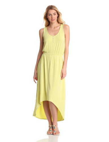 Evolution by Cyrus Women's Sleeveless Henley Maxi Dress, Limeade, X-Large