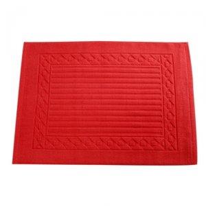 tapis de salle de bain coton 50 x 70 cm rouge. Black Bedroom Furniture Sets. Home Design Ideas