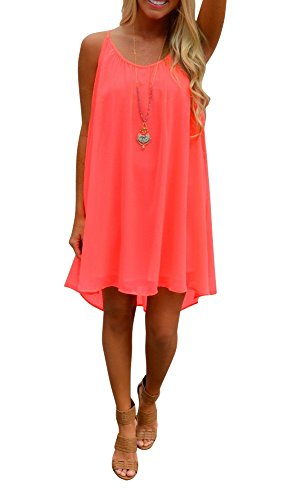 Preferhouse Women's Beach Dress Summer Casual Wear Hollow Out spaghetti straps S Coral