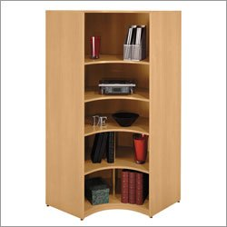 Bush Business Furniture WL60307 Light Oak Universal Wall System Corner Bookcase