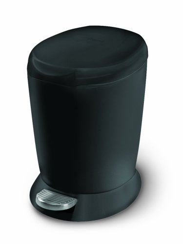 simplehuman Mini Round Step Trash Can, Black Plastic, 6L / 1.6 Gal (Step Garbage Can 13 Gallon compare prices)