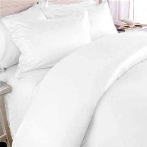 Solid White 300 Thread Count King/California King Size 3Pc Duvet Cover Set 100 % Egyptian Cotton With Button Enclosure front-1045923