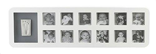 Baby Art - 34120085 - 1St Year Print Frame - Cornice per 12 foto e impronta del piedino o manina del bebè, Bianco-Grigio