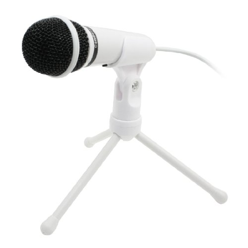 3.5Mm Jack Skype Webcast Video Podcast Studio Microphone W Stand White