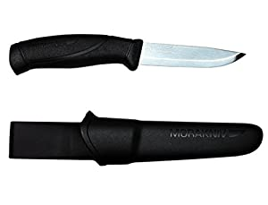 Morakniv Companion Fixed Blade Outdoor Knife with Sandvik Stainless Steel Blade, Black, 4.1-Inch