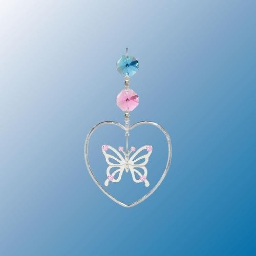 Hanging Sun Catcher or Ornament..... Butterfly In Heart With Swarovski Austrian Crystals by Crystal Delight by Mascot